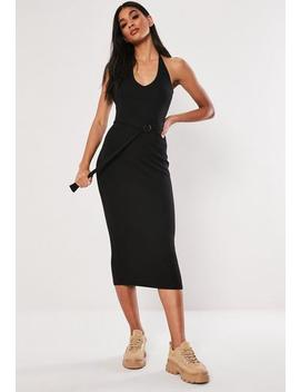 Black Ribbed Belted Halterneck Midi Dress by Missguided