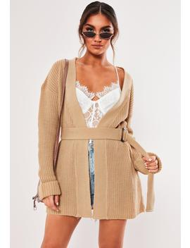 Sand Horn Belted Chunky Cardigan by Missguided
