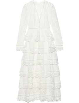 Bayou Tiered Broderie Anglaise Cotton Midi Dress by Zimmermann