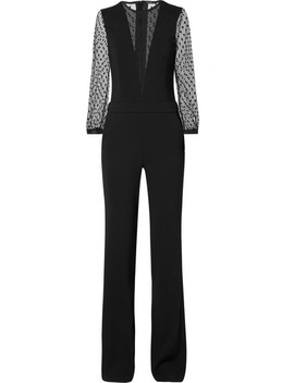 Stretch Crepe And Point D'esprit Jumpsuit by Adam Lippes