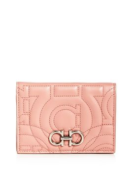 Gancini Quilted Leather Bi Fold Wallet by Salvatore Ferragamo