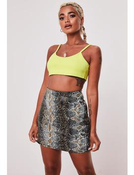 Khaki Snake Print Faux Leather Mini Skirt by Missguided