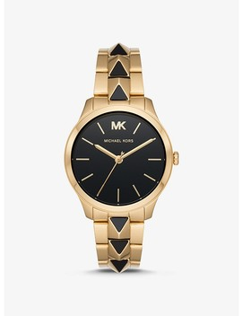 Runway Mercer Gold Tone And Onyx Watch by Michael Kors
