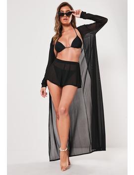 Black Co Ord Mesh Long Sleeve Maxi Beach Kimono by Missguided