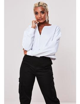 White Inserted Zip Cropped Sweatshirt by Missguided