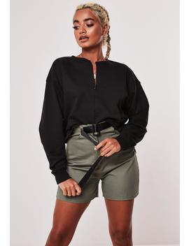 Black Inserted Zip Cropped Sweatshirt by Missguided
