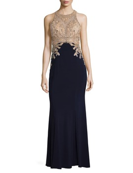 High Neck Embroidered Bodice Evening Dress by Xscape
