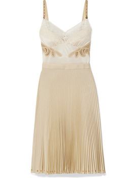 Lace And Leather Trimmed Satin And Pleated Crepe De Chine Dress by Burberry
