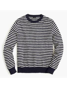 Cotton Crewneck Sweater In Navy Stripe by J.Crew