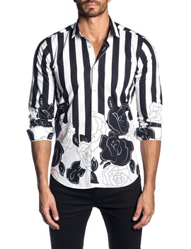 Trim Fit Stripe & Floral Print Sport Shirt by Jared Lang