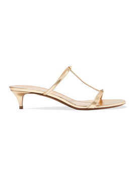Valentino Garavani The Rockstud Nude 40 Metallic Leather Mules by Valentino