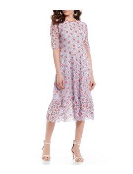 Floral Lace Flounce Hem Midi Dress by Draper James