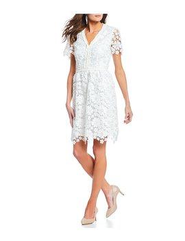 Juliet V Neck Lace A Line Dress by Alex Marie