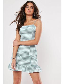 Green Gingham Ruffle Hem Mini Dress by Missguided