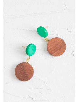 Round And Round Wooden Earrings by Modcloth