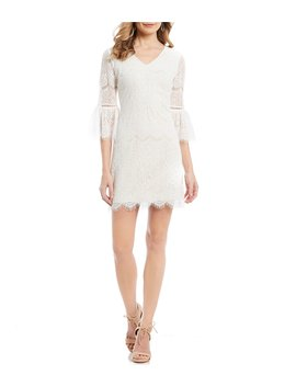 Lace Bell Sleeve Shift Dress by Adrianna Papell