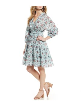Smocked Floral Tiered Ruffle A Line Dress by Chelsea &Amp; Violet