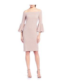 Off The Shoulder Glitter Knit Bell Sleeve Sheath Dress by Eliza J