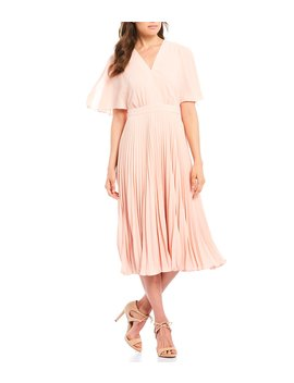V Neck Pleated Crepe Midi Dress by Maggy London