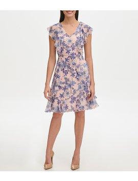 Floral Print Flutter Sleeve A Line Dress by Tommy Hilfiger