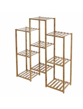 Sujing 9 Tier Storage Rack Shelving Unit Bamboo Plant Stand Shelf Flower Pots Holder Display Rack Utility Shelf Bathroom Rack Plant Display Stand  Ship From Us by Sujing
