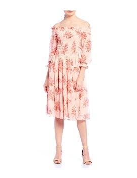 Floral Print Smocked Off The Shoulder Ruffle Hem Midi Dress by Eliza J