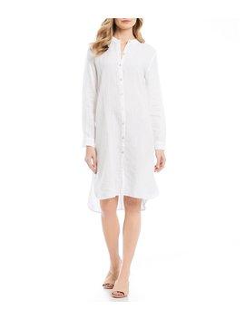 Mandarin Collar Hi Low Midi Length Shirt Dress by Eileen Fisher
