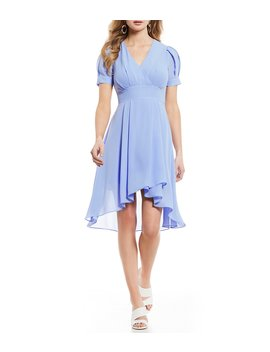 Puff Sleeve Hi Low Wrap Dress by A Loves A