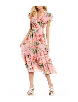 Floral Print Ruffle Tier Faux Wrap Midi Dress by Gibson &Amp; Latimer