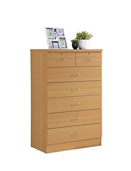 Hodedah 7 Drawer Chest, Five Large Drawers, Two Smaller Drawers With Two Locks, Beech by Hodedah Import