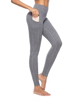 Zoano Women's Yoga Pants Pockets High Waist Power Flex Tummy Control Workout Running Leggings by Zoano
