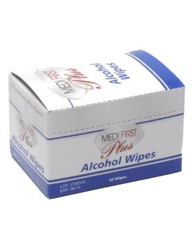 Antiseptic Alcohol Wipe Towelettes Medifirst 50/Box by Medique