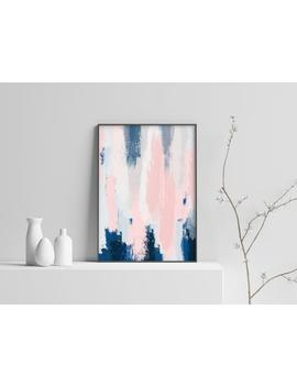 Large Abstract Art Poster   Blush Pink And Blue Art   Wall Decor by Etsy