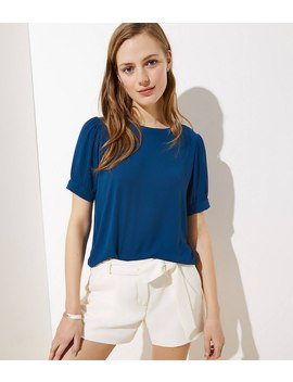 Puff Sleeve Button Back Top by Loft