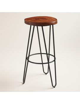 Wood And Black Metal Malvan Hairpin Barstool by World Market