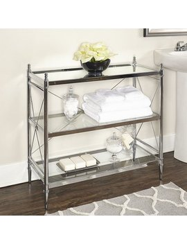 Walker Chrome And Glass Floor Console by Linon