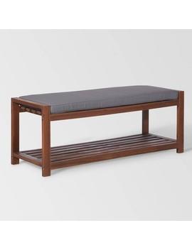 "48"" Wood Patio Bench With Cushion   Saracina Home by Saracina Home"
