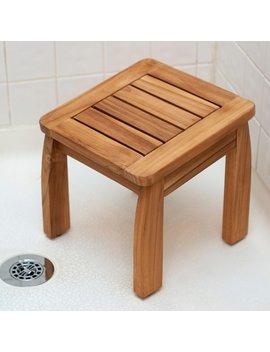 Porch & Den Lathrop Teak Shower Pedestal Stool by Porch & Den