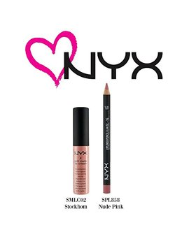 Nyx Soft Matte Lip Cream Stockholm(Smlc02) & Slim Lip Pencil Nude Pink (Spl85... by Nyx