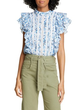 Sol Floral Ruffle Top by Veronica Beard