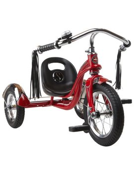 Schwinn Roadster Tricycle With Classic Bicycle Bell And Handlebar Tassels, Featuring Retro Steel Frame And Adjustable Seat, For Children And Kids Ages 2 4 Years Old, Red by Schwinn
