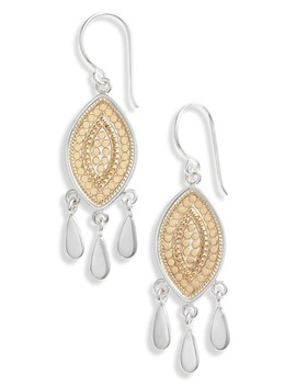 Beaded Marquise Fringe Earrings by Anna Beck