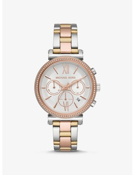 Sofie Pavé Tri Tone Watch by Michael Kors