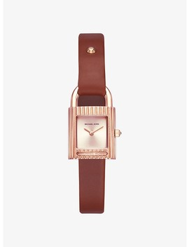 Isadore Rose Gold Tone And Leather Watch by Michael Kors