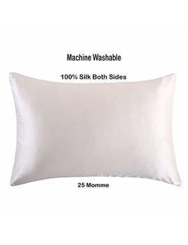 Purebloom 25 Mm Mulberry Silk Pillowcase For Hair & Skin | Machine Washable & Dryable With Zippered Enclosure | Double Sided In Queen & Standard Size | Natural Undyed White by Purebloom