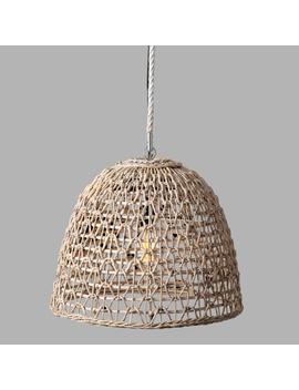 Whitewash Geometric Open Weave Abaca Luna Pendant Lamp by World Market