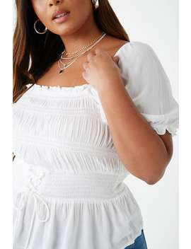 Plus Size Crinkled Shirred Lace Up Top by Forever 21