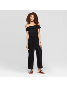 Women's Off The Shoulder Mini Cap Sleeve Jumpsuit   Universal Thread by Universal Thread