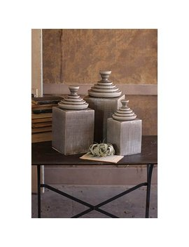 Set/3 Grey Textured Ceramic Canisters With Pyramid Tops by Kalalou