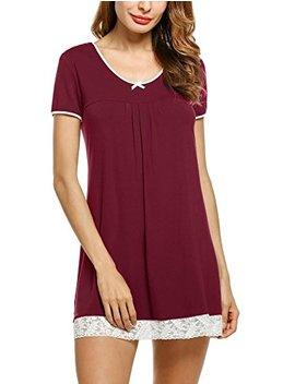 Hotouch Sleepwear Womens Cotton Nightgown Short Sleeve Sleep Nightdress Scoopneck Sleep Tee Nightshirt S Xxl by Hotouch